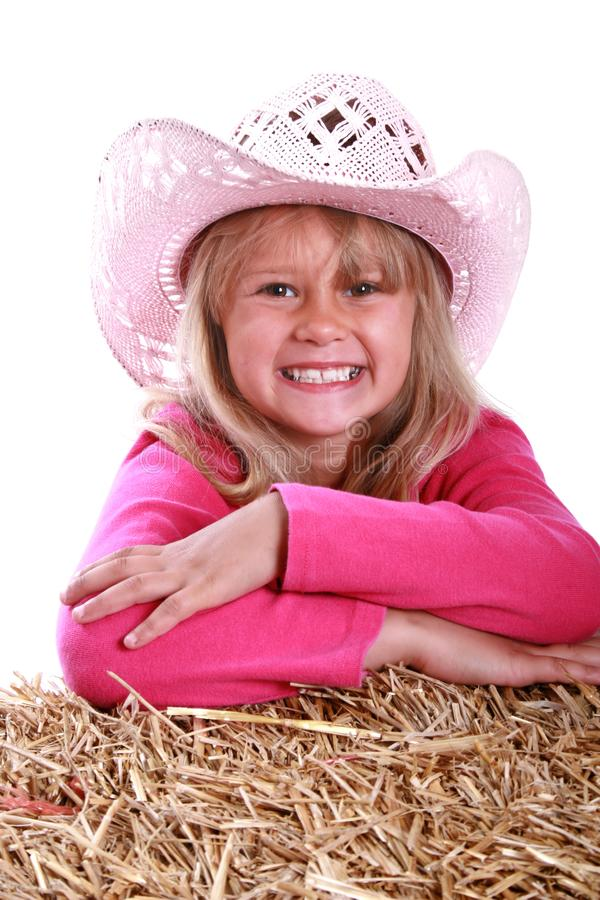 girl in pink cowboy hat royalty free stock photo