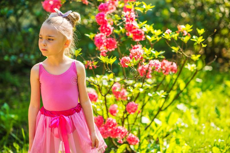 Girl in Pink Dress. Caucasian Girl in Pink Dress Posing in the Pink Blossom Summer Garden stock image