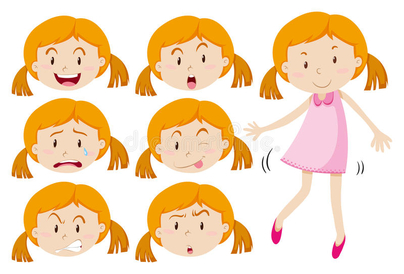 Girl in pink dress and different emotions. Illustration stock illustration