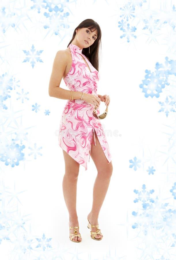 Download Girl In Pink Dress And Golden Platform Shoes Stock Image - Image: 6231823