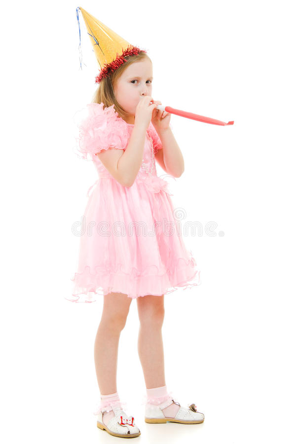 A Girl In A Pink Dress And Hat Royalty Free Stock Photos