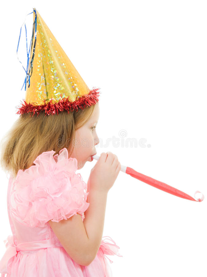 A Girl In A Pink Dress And Hat Stock Photo