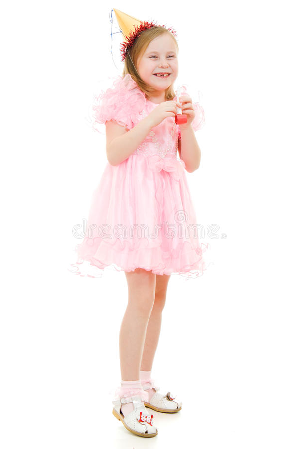 Download A Girl In A Pink Dress And Hat Laughing Royalty Free Stock Photography - Image: 24313877