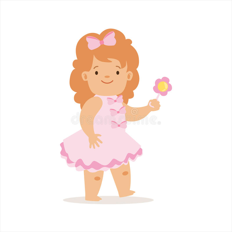 Girl In Pink Dress Walking With Flower, Adorable Smiling Baby Cartoon Character Every Day Situation. Part Of Cute Infants And Toddlers Vector Illustration royalty free illustration