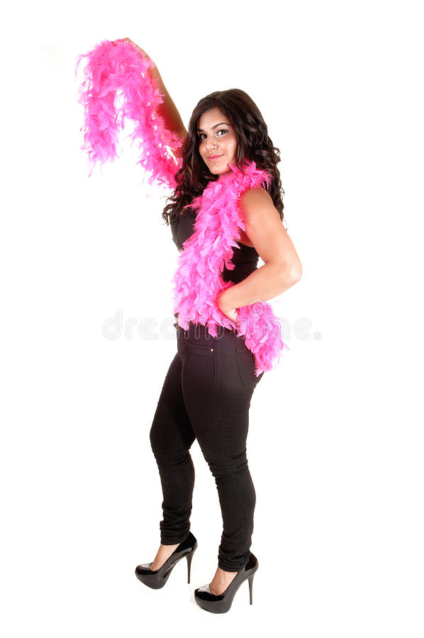 Girl with pink feather. royalty free stock photo