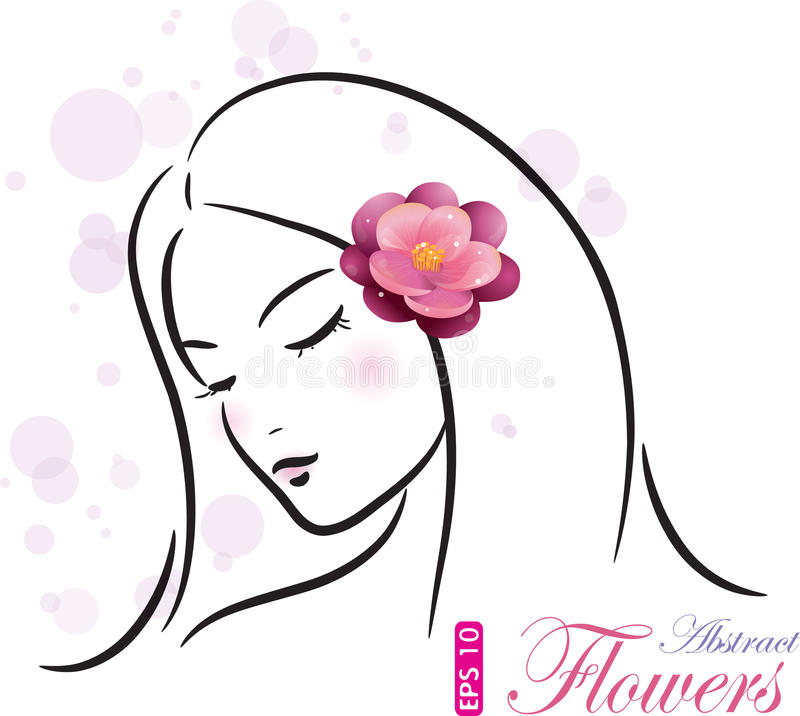 Girl with pink flower vector illustration