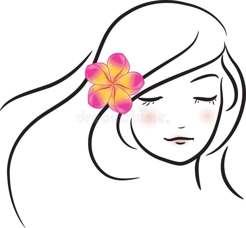 Girl with pink frangipani flower stock illustration
