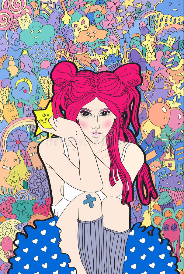 girl with pink hair fantasy about cute monsters vector illustration