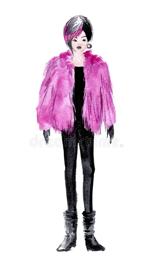 Girl with pink hair and pink fur coat. Hand drawn watercolor illustration isolated on white background stock illustration