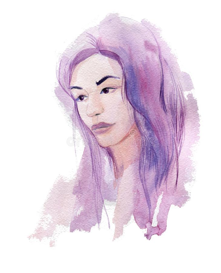 Girl with pink hair. Watercolor illustration isolated on white background stock illustration