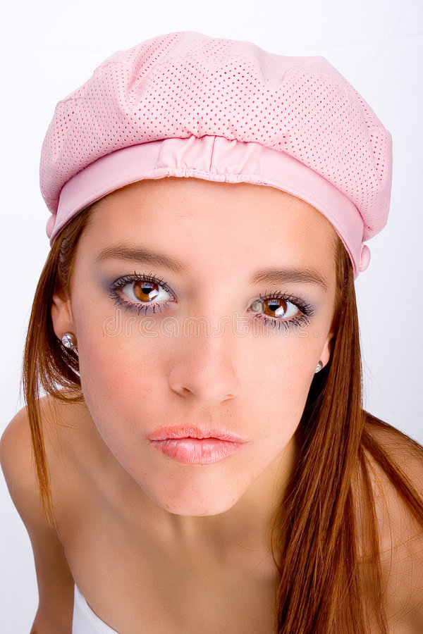 Download Girl with pink hat stock photo. Image of teen, cute, youth - 669726
