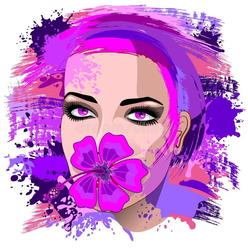 Download Girl With Pink Hibiscus On Lips Stock Vector - Illustration: 67830572