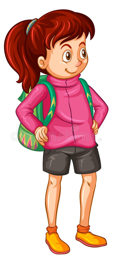 Girl in pink jacket and green backpack vector illustration