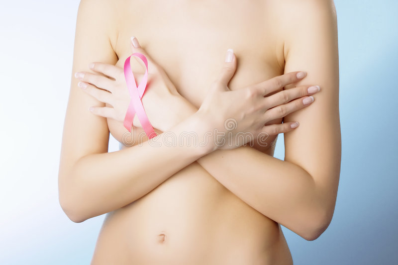 Download Girl with a pink ribbon stock image. Image of charity - 8487217