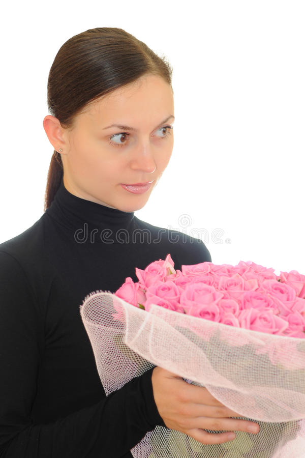 Download Girl and pink roses stock image. Image of female, smiling - 18563839