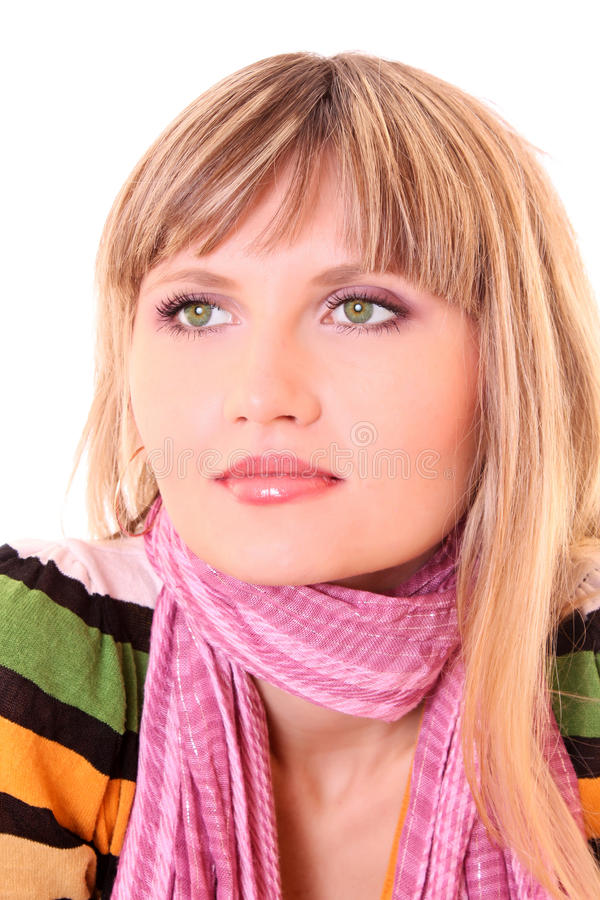 Girl in pink scarf royalty free stock photography