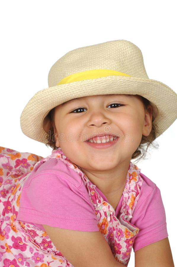 Download Girl In Pink With Straw Hat Stock Photo - Image: 14238642