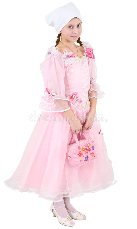 Girl In Pinkish Dress Stock Images