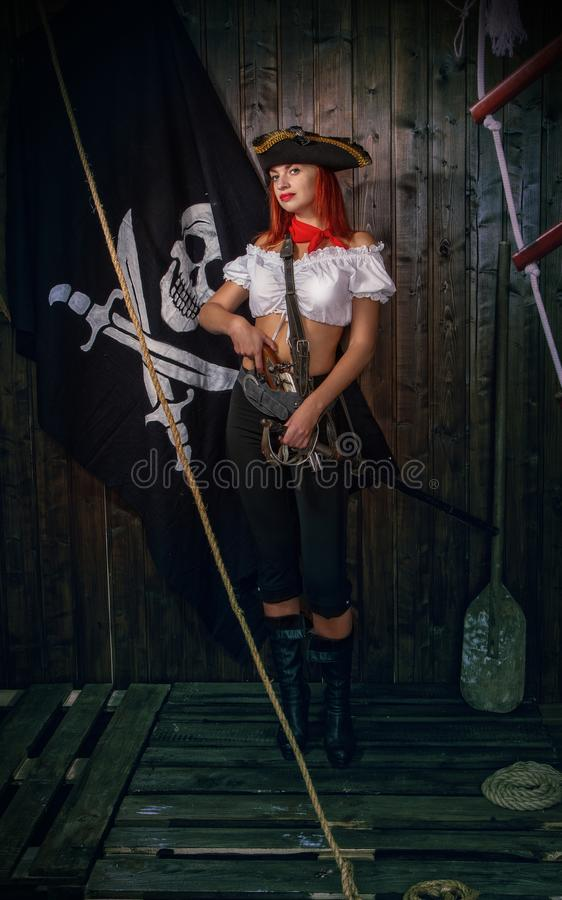 Girl Pirate Captain stock image