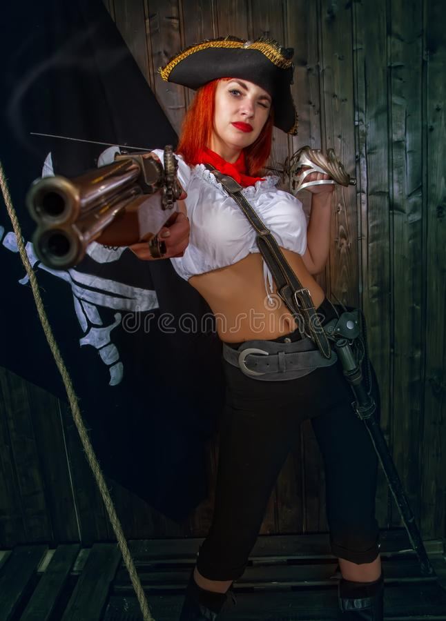 Girl Pirate Captain royalty free stock images