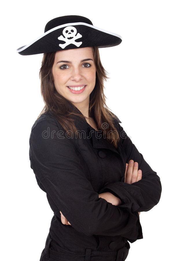 Download Girl with pirate hat stock image. Image of buccaneer, crossed - 3503391