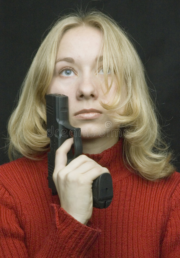Download A girl with the pistol stock photo. Image of pistol, ukrainian - 512876