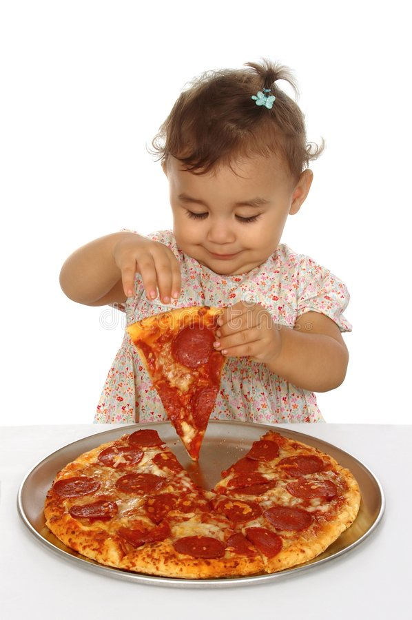 Girl and pizza stock photography
