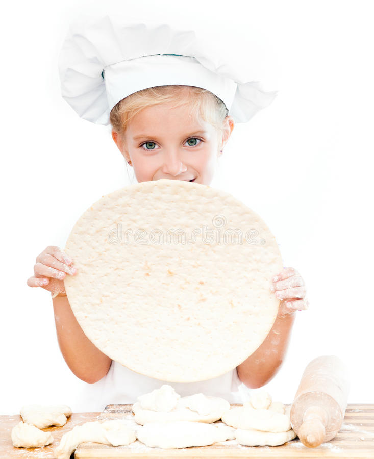 Girl with pizza dough royalty free stock photos