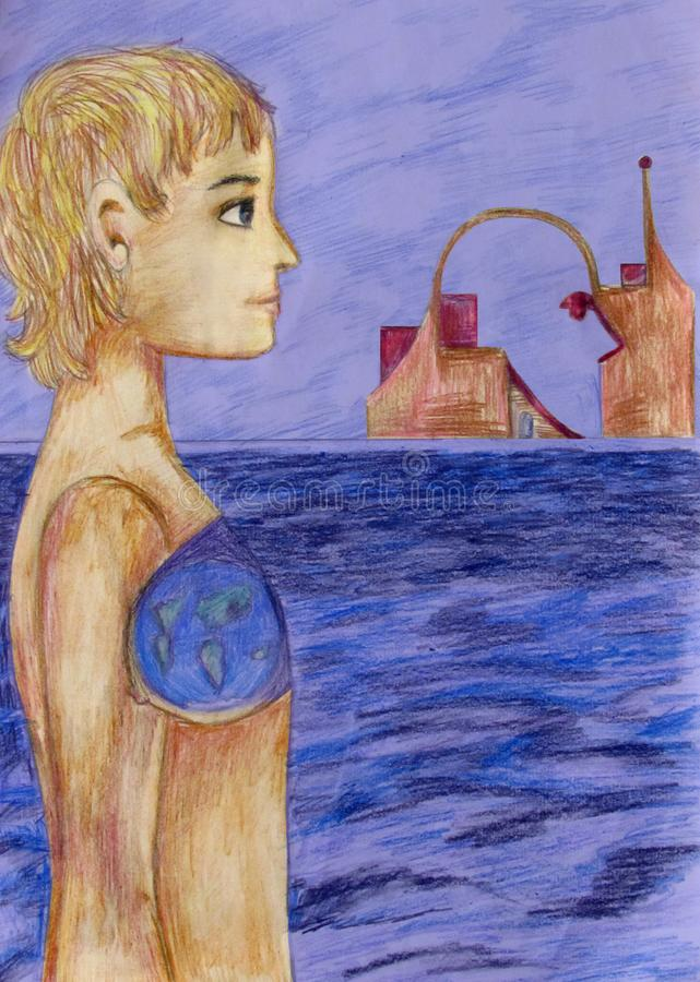 A girl with a planet in her chest stands near the sea and looks at distant buildings in the form of a human head stock illustration