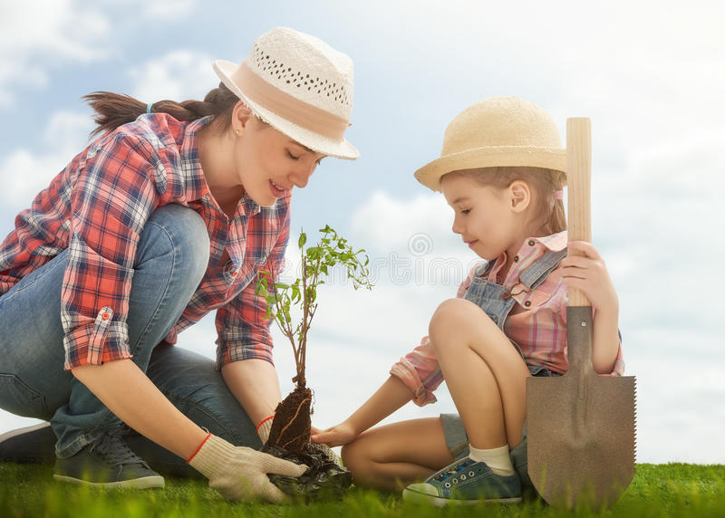 Image result for mom and kid planting trees