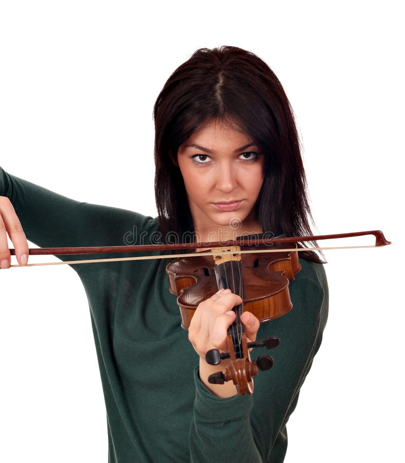 Girl play music on violin royalty free stock photo