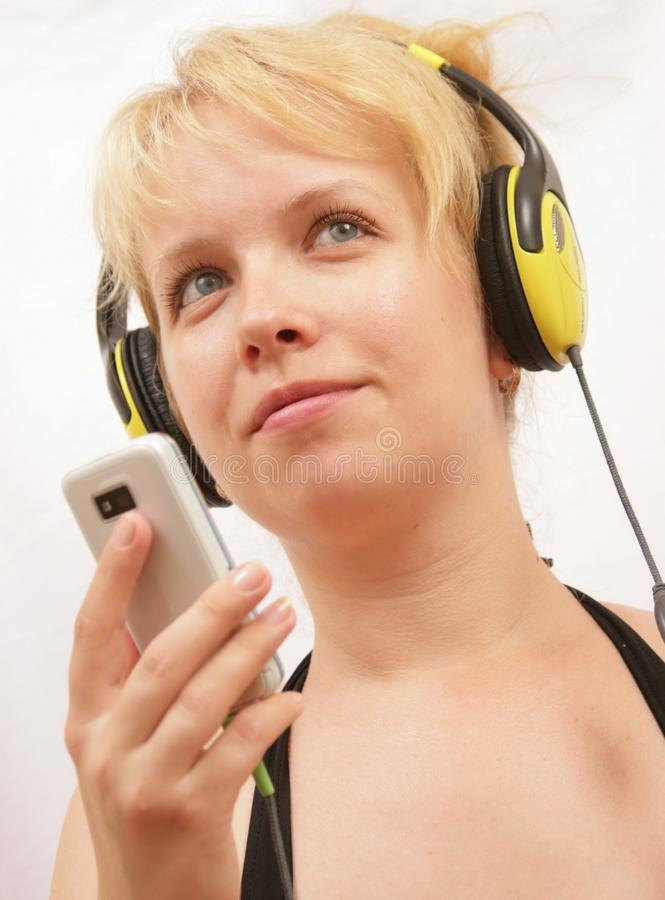 Download Girl with player stock image. Image of cute, listening - 15254757