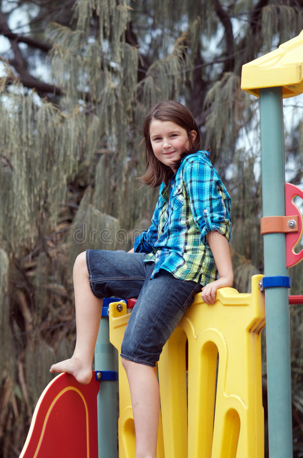 Download Girl at playground stock image. Image of casual, childhood - 31480233