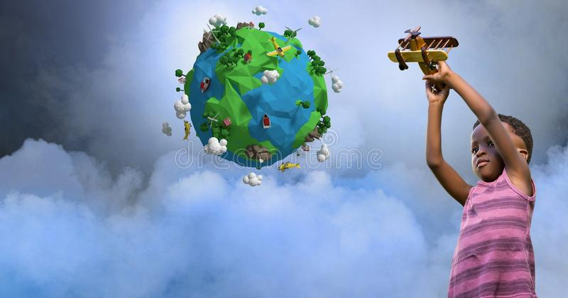 Girl playing with airplane by low poly earth stock photos