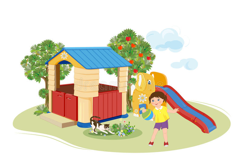 Girl playing with ball. Playground. royalty free illustration