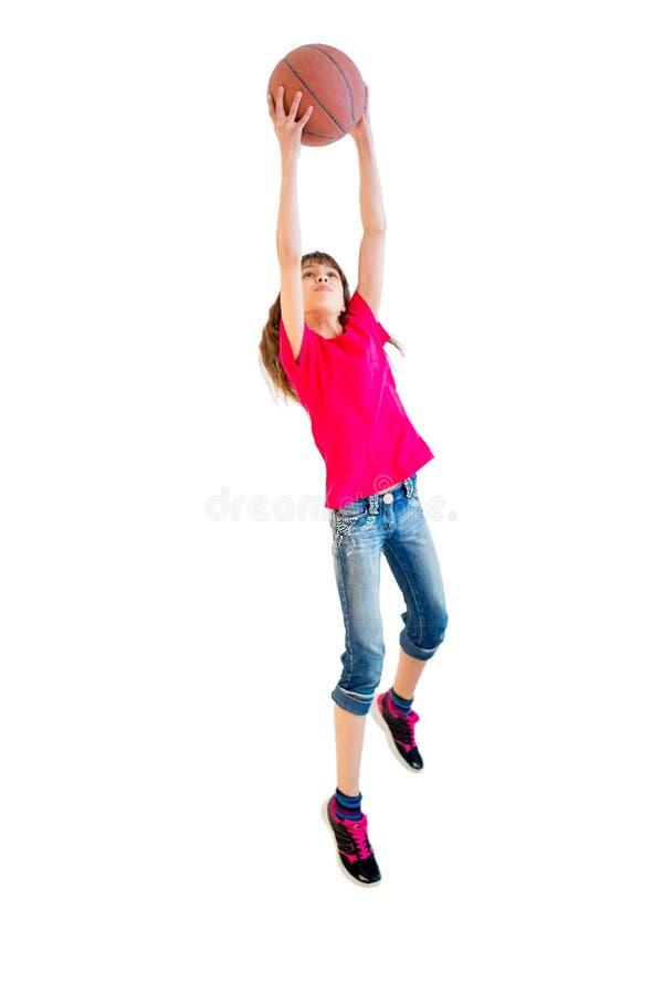 Girl playing basketball. Happy girl playing basketball on white background stock photos