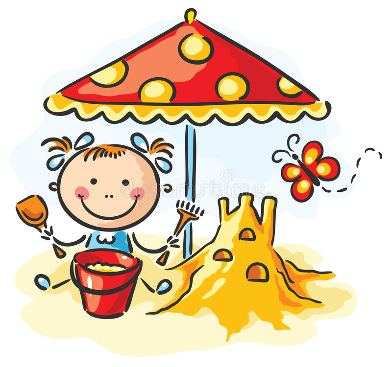 Girl playing at the beach stock illustration