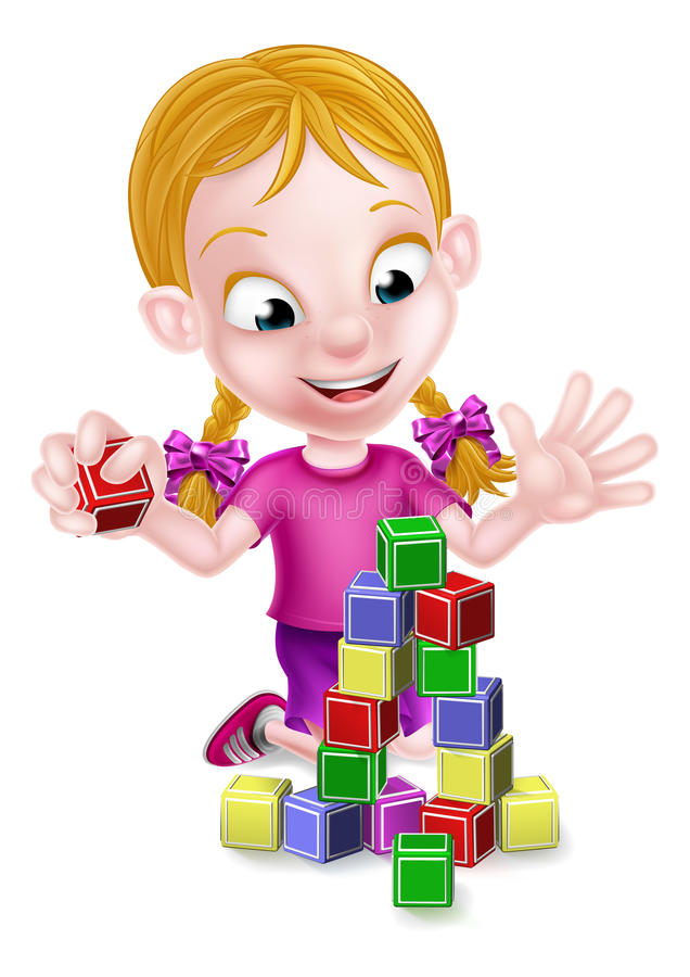 Girl Playing With Building Blocks royalty free illustration