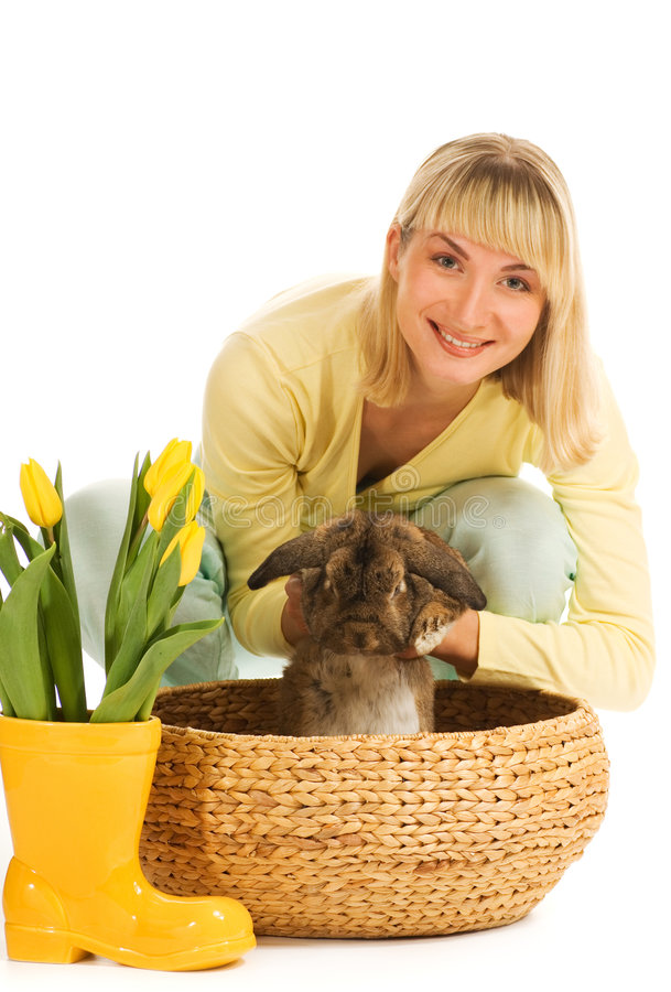 Download Girl playing with bunny stock image. Image of play, floral - 4379373
