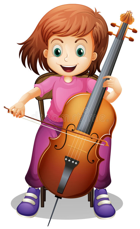 Girl playing cello on the chair royalty free illustration