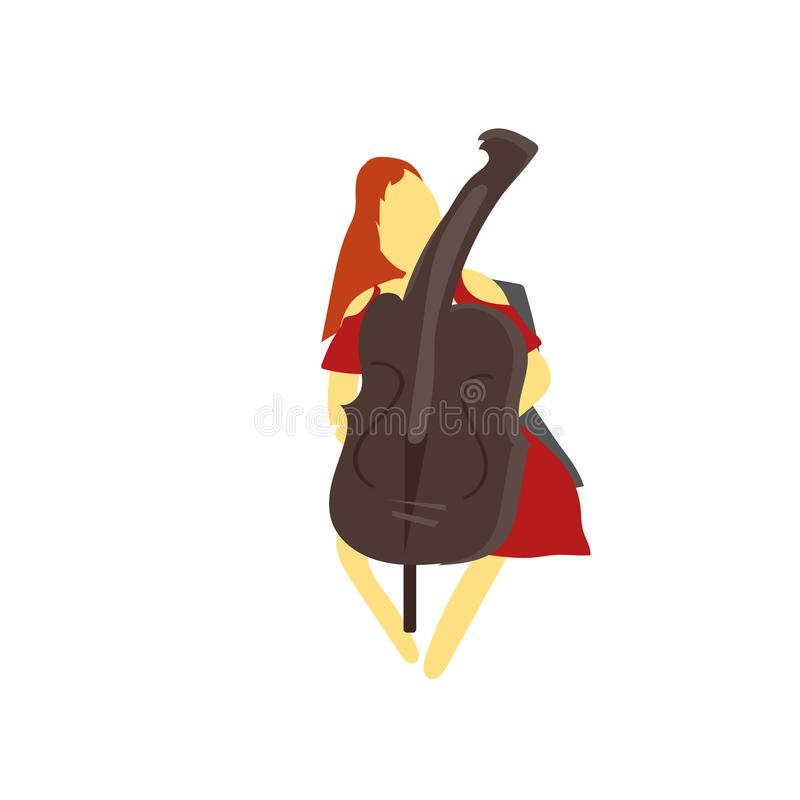 Girl playing cellos vector vector sign and symbol isolated on white background, Girl playing cellos vector logo concept stock illustration