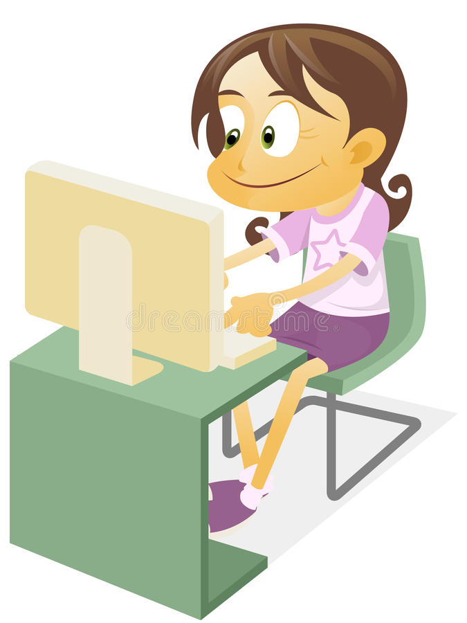 Girl playing a desktop computer. Illustration of a Tech Girl operating a desktop computer stock illustration