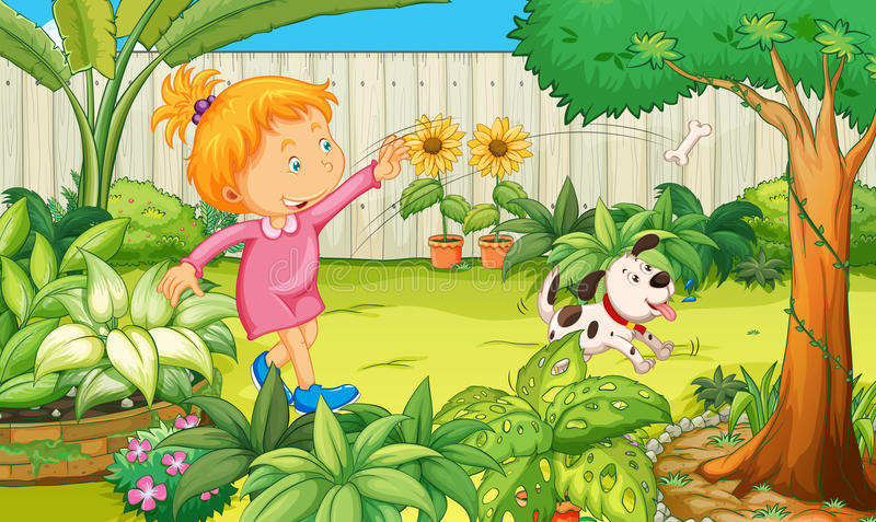 Girl playing with dog in the garden stock illustration