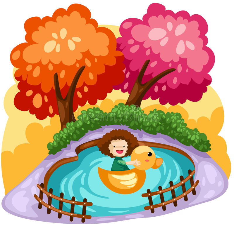 Girl playing duck boat vector illustration