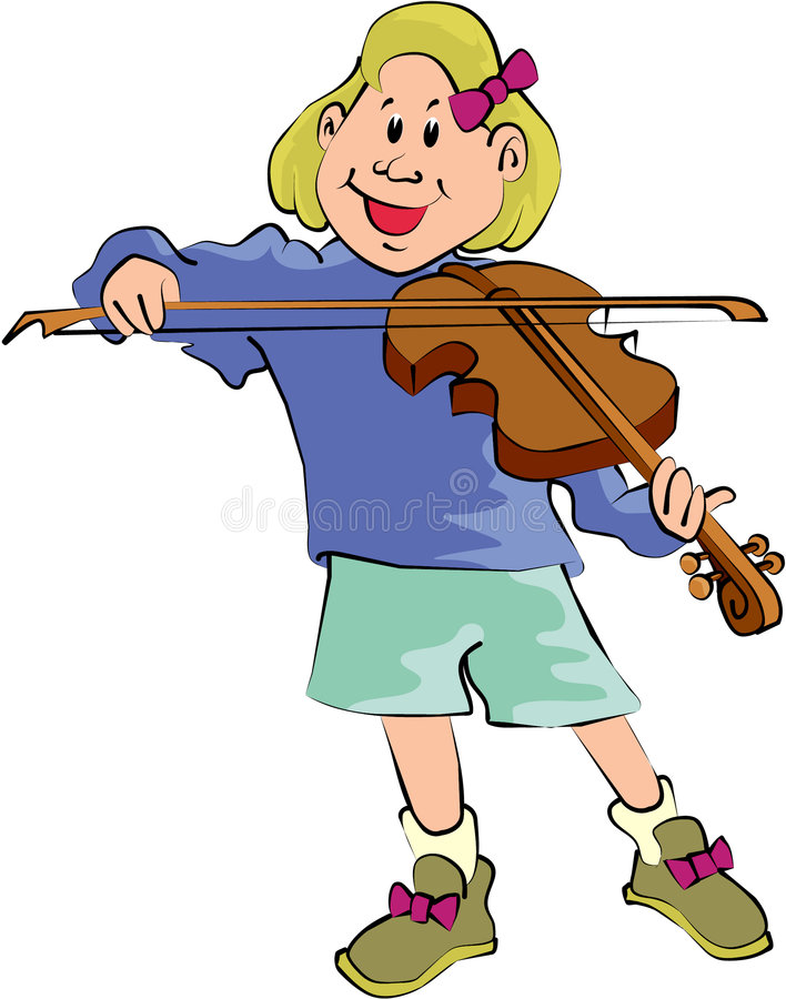 Girl playing Fiddle royalty free illustration