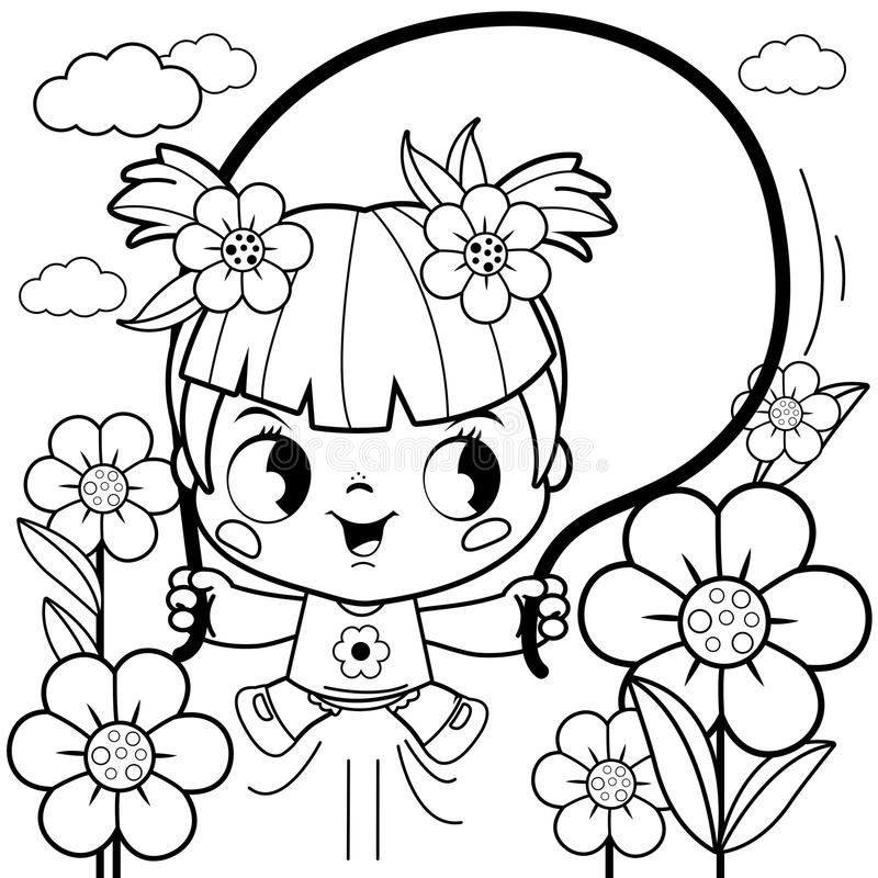 Girl Playing In The Flower Garden Coloring Book Page Stock Vector