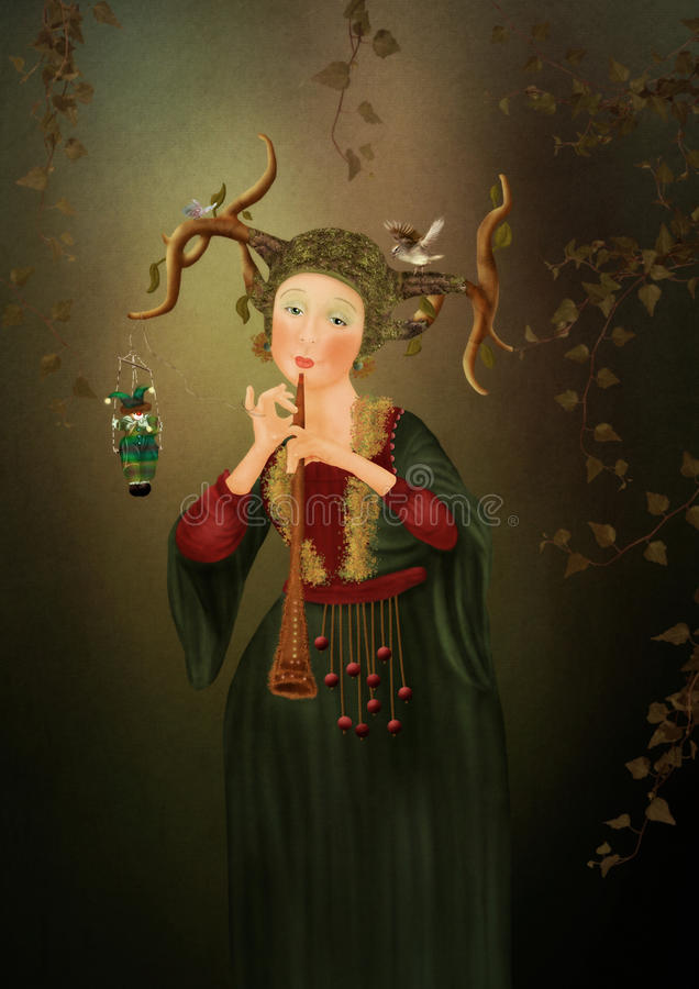 Girl playing the flute. Evening song royalty free illustration