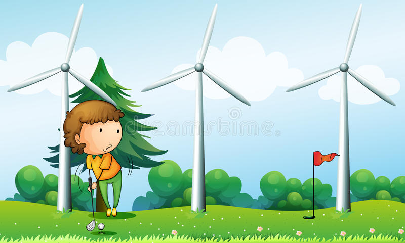 A girl playing golf near the windmills vector illustration