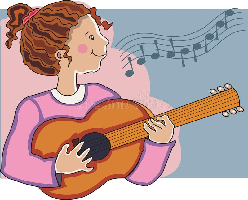 Download Girl playing guitar. stock illustration. Image of play - 12320220