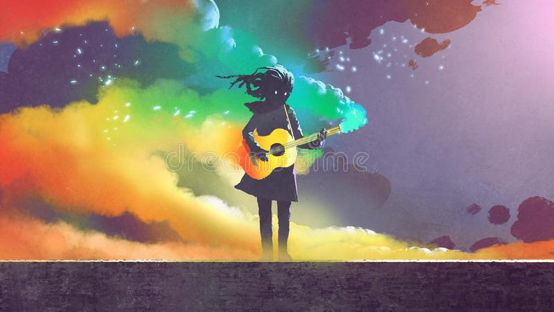 Girl playing the guitar with colorful smoke stock illustration